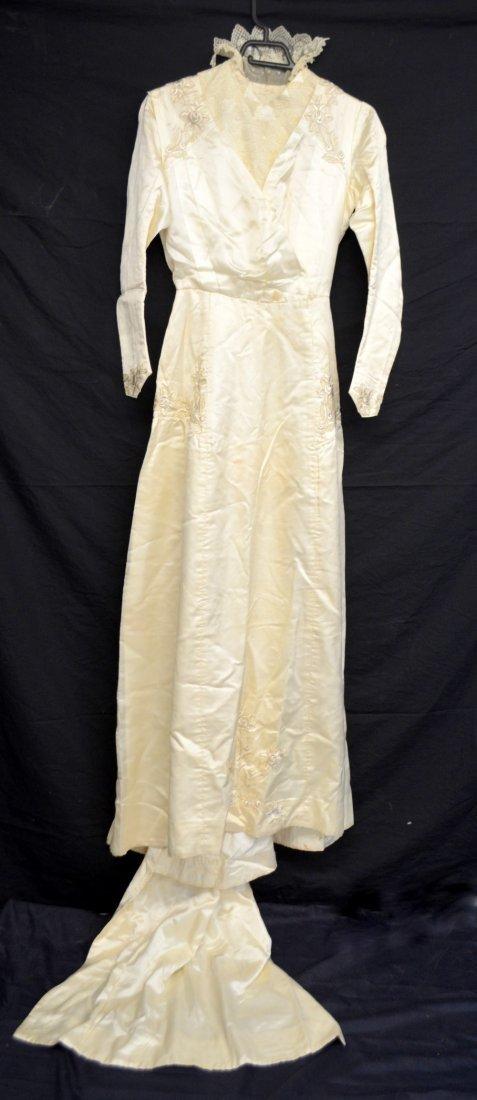 Edwardian cream silk wedding dress with cross over