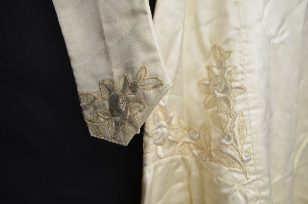 Edwardian cream silk wedding dress with cross over - 2