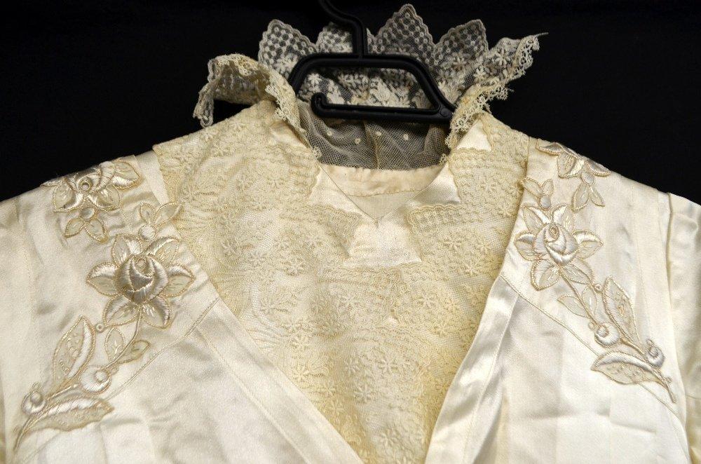 Edwardian cream silk wedding dress with cross over - 3