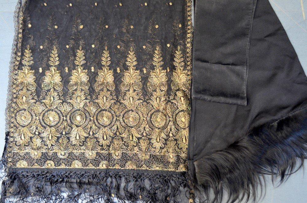19th C Spanish shawl of black net with tambour work