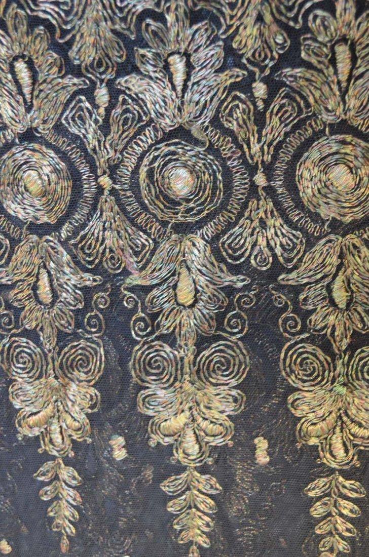 19th C Spanish shawl of black net with tambour work - 2