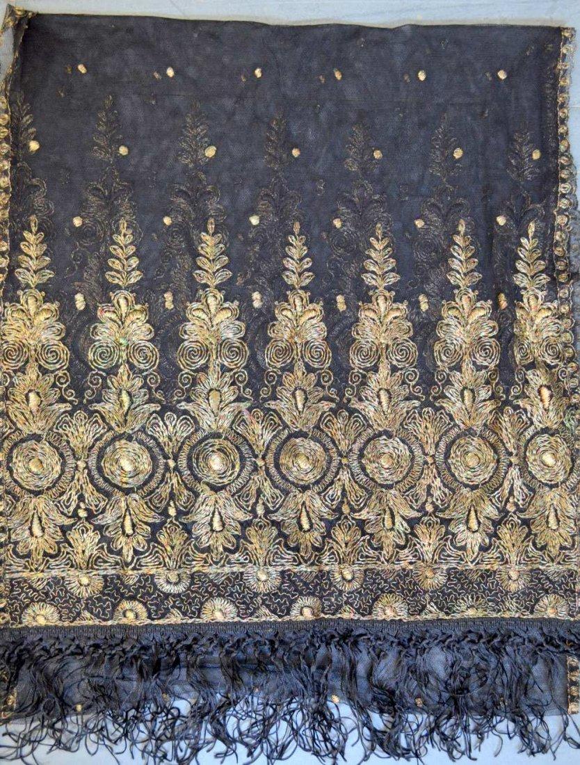 19th C Spanish shawl of black net with tambour work - 3