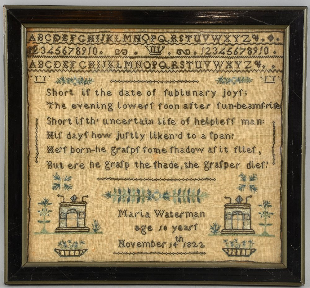 Two samplers, one by Maria Waterman aged 10 years,
