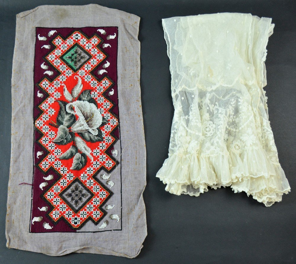 Late 19th century tambour lace stole  and an unfinished