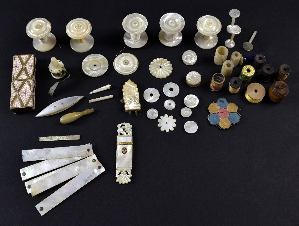 Collection of 19th C mother of pearl sewing items,