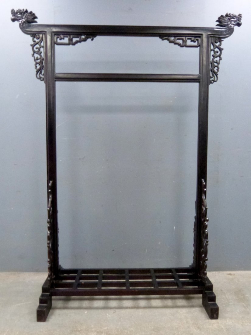 Chinese black lacquer robe stand carved with dragons