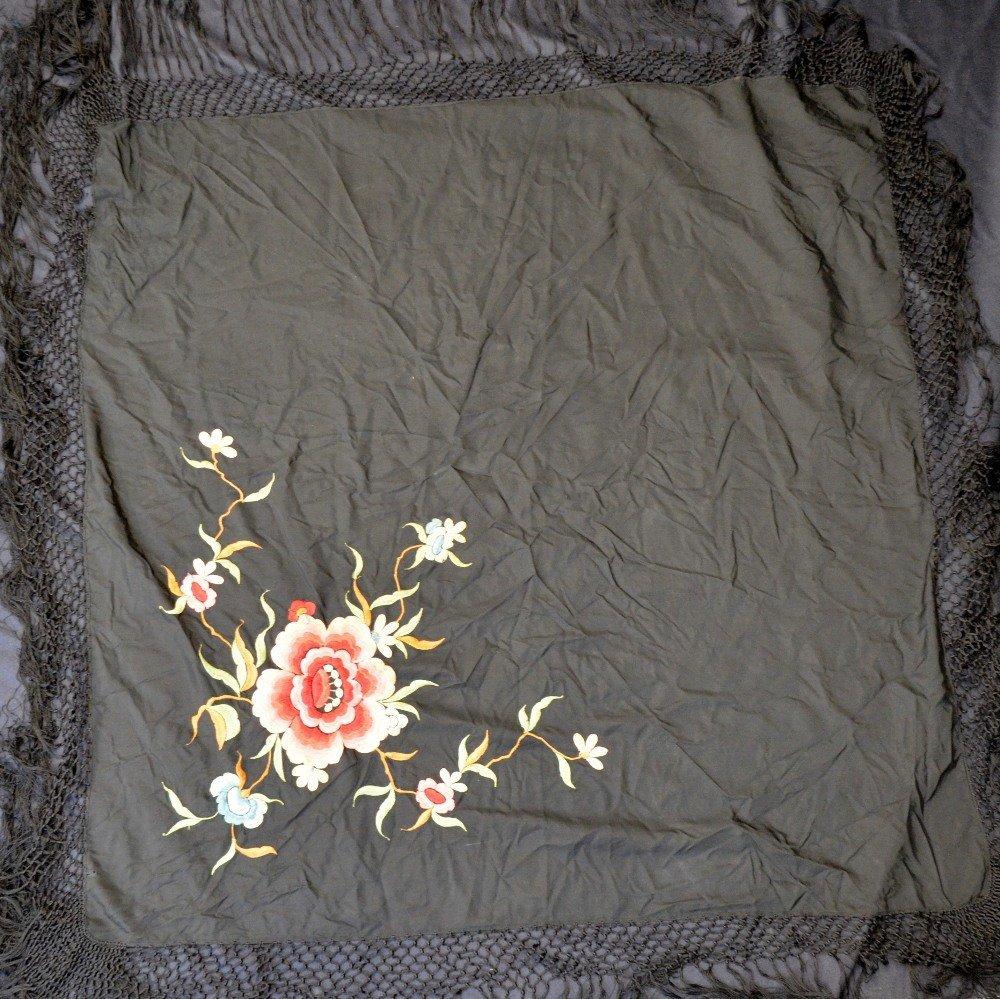 1920's Spanish shawl, black silk with large coloured