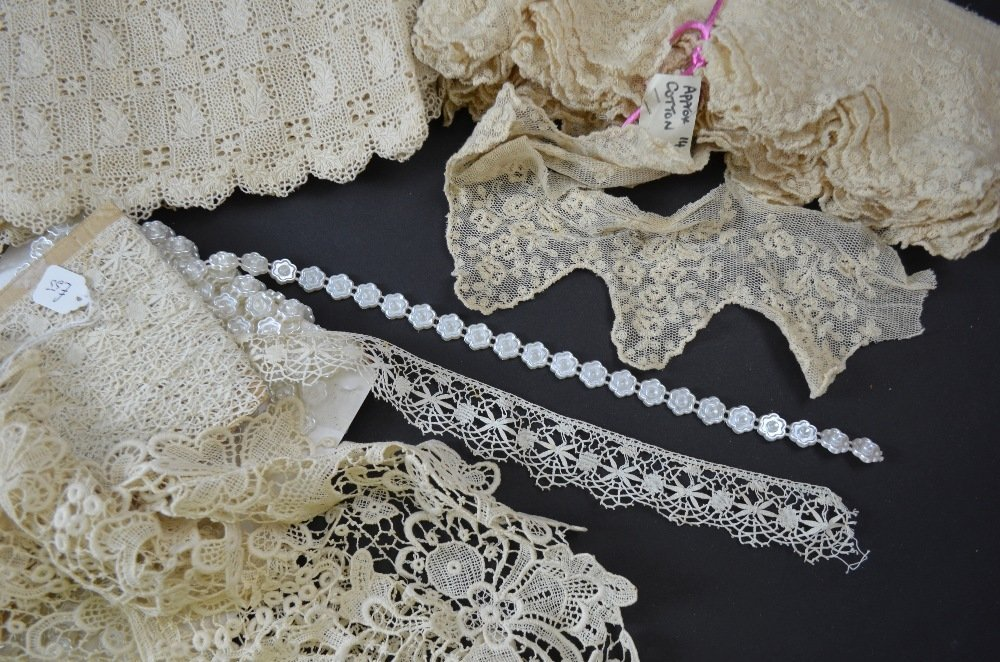 Vintage fabric and  trimmings including silver net