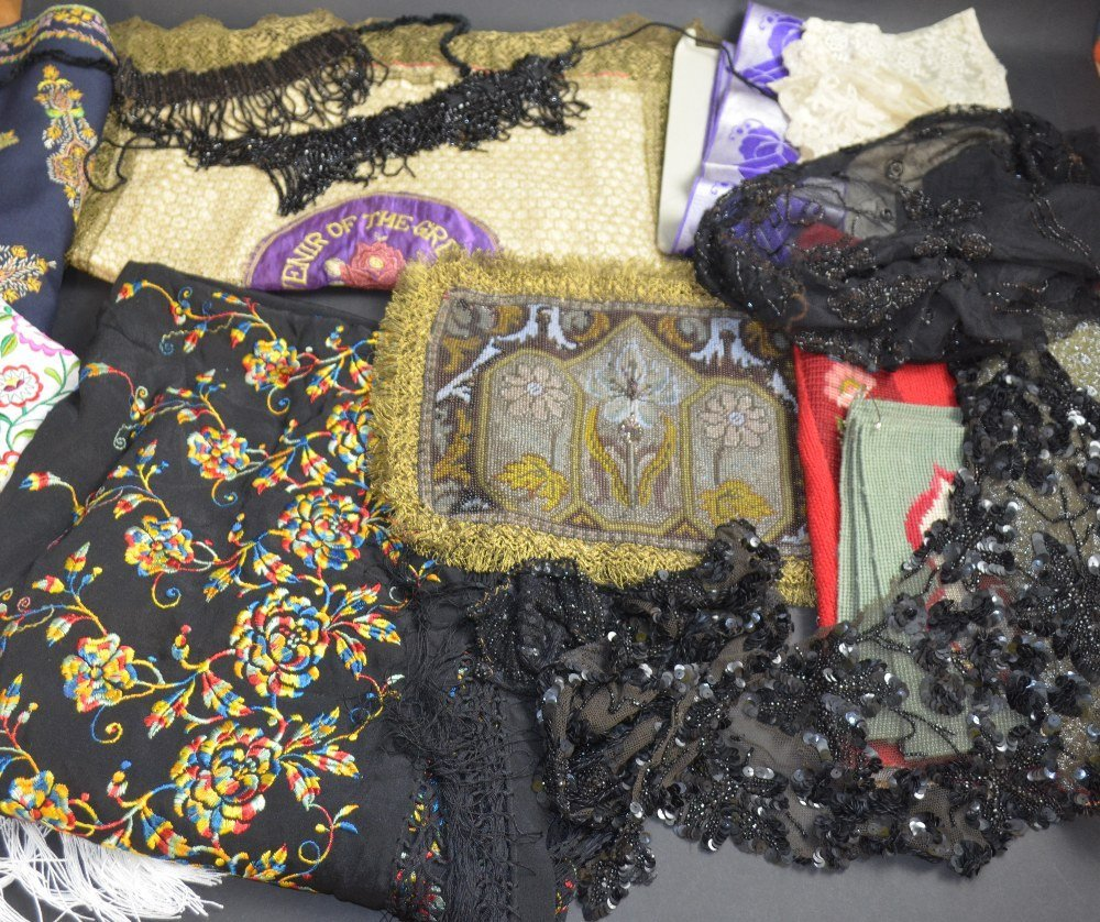 Mixed group of textiles to include Art Nouveau beaded