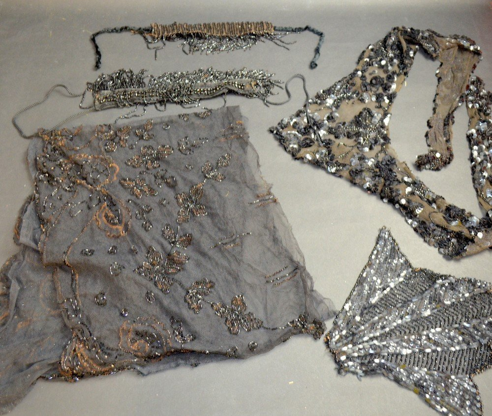 Mixed group of textiles to include Art Nouveau beaded - 5