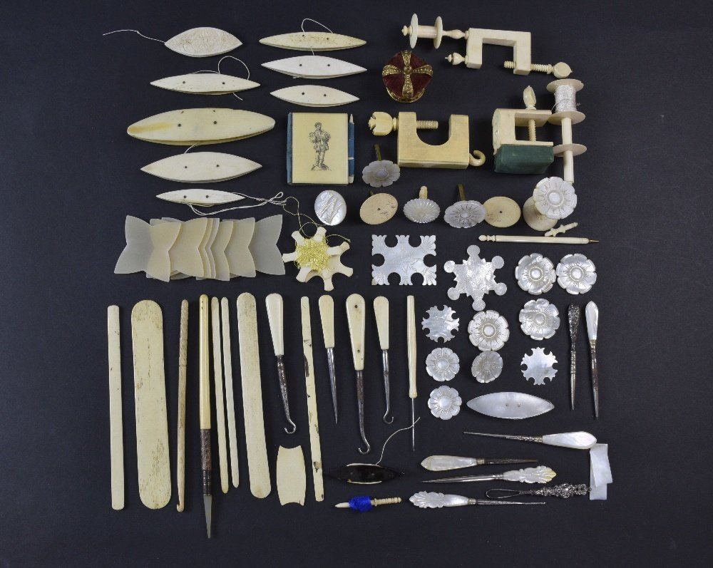 Collection of sewing items including mother of pearl