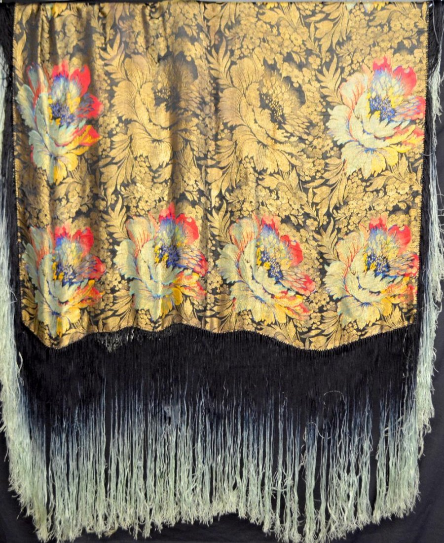 Shawl brocaded with gold and  bold flowers and deep