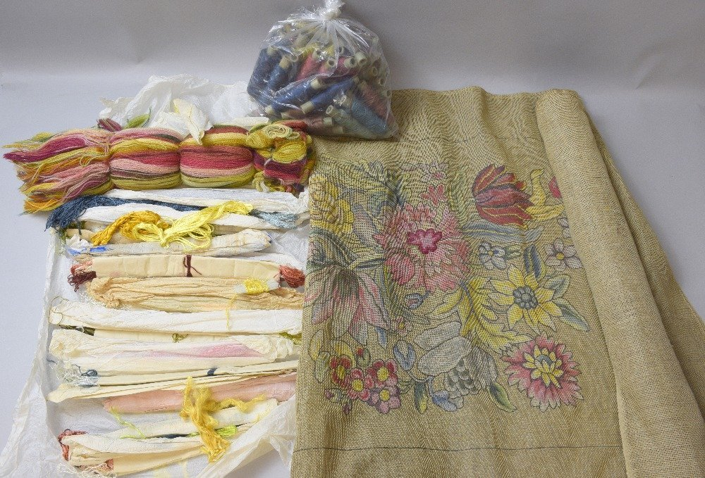 Tapestry set un-worked panels and coloured wools, also