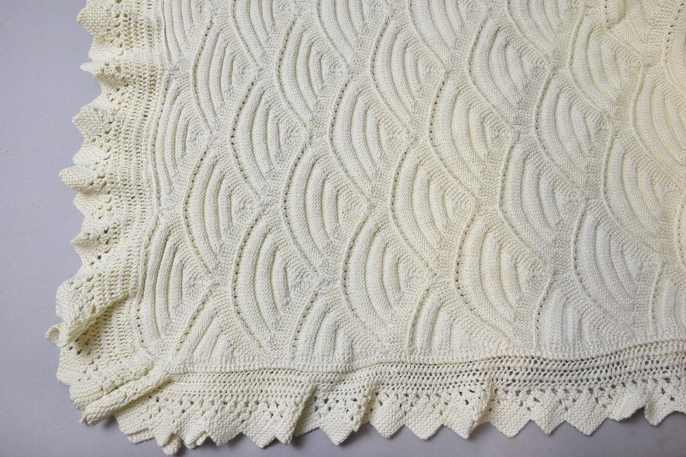 1930's knitted double  bed cover, cream with scale