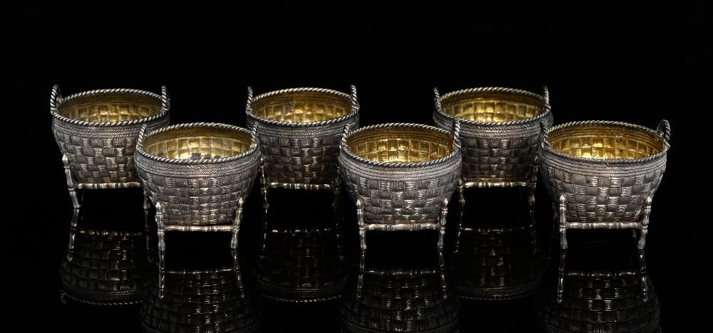 Set of six Chinese silver salts of woven basket form,