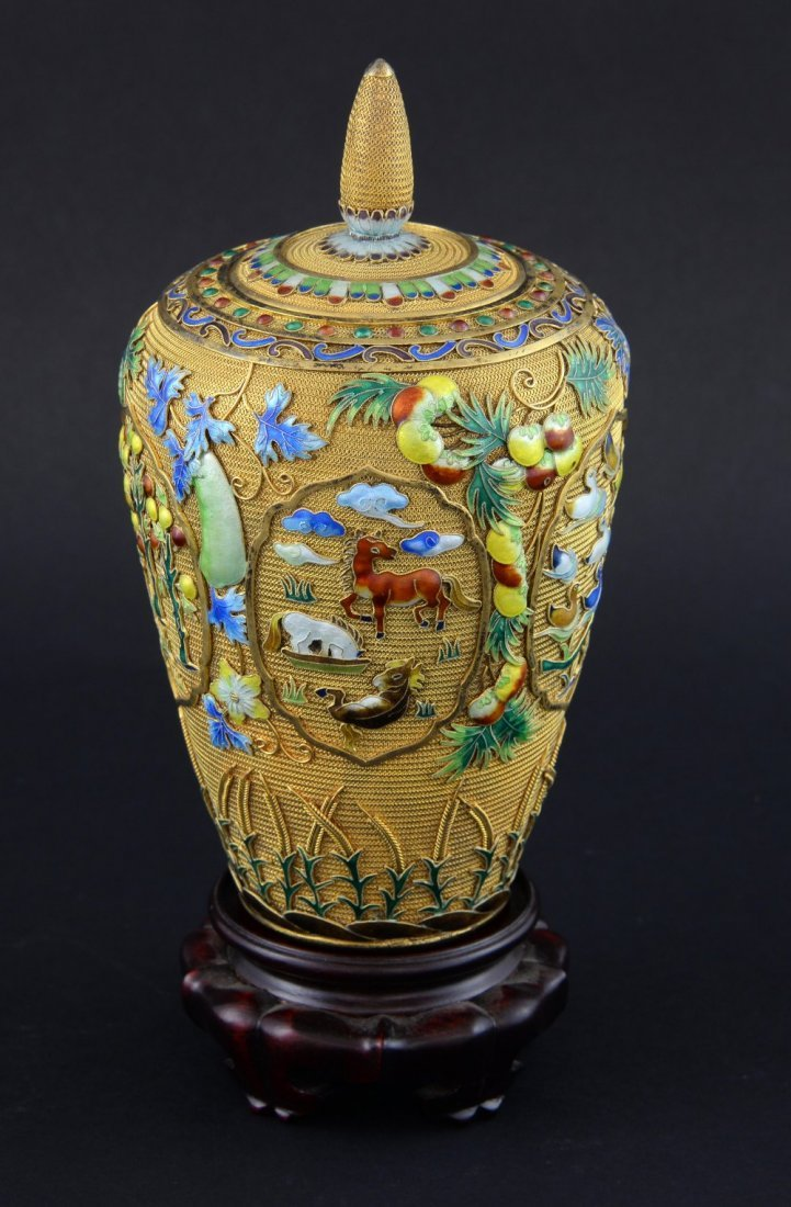 Modern Chinese silver gilt and overlaid enamel vase and