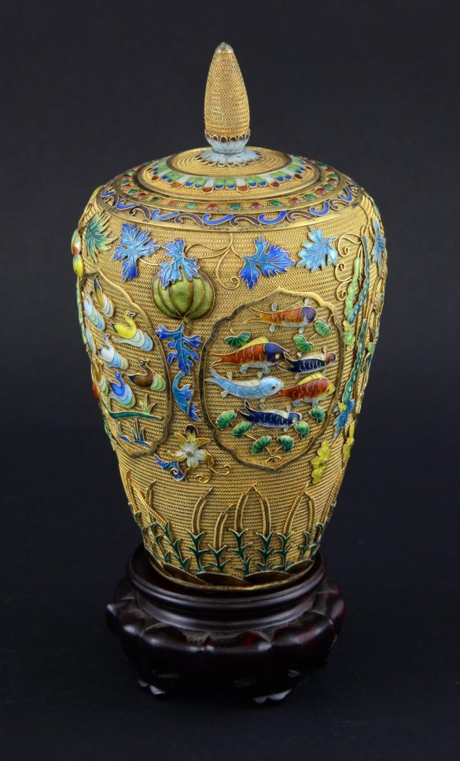 Modern Chinese silver gilt and overlaid enamel vase and - 3