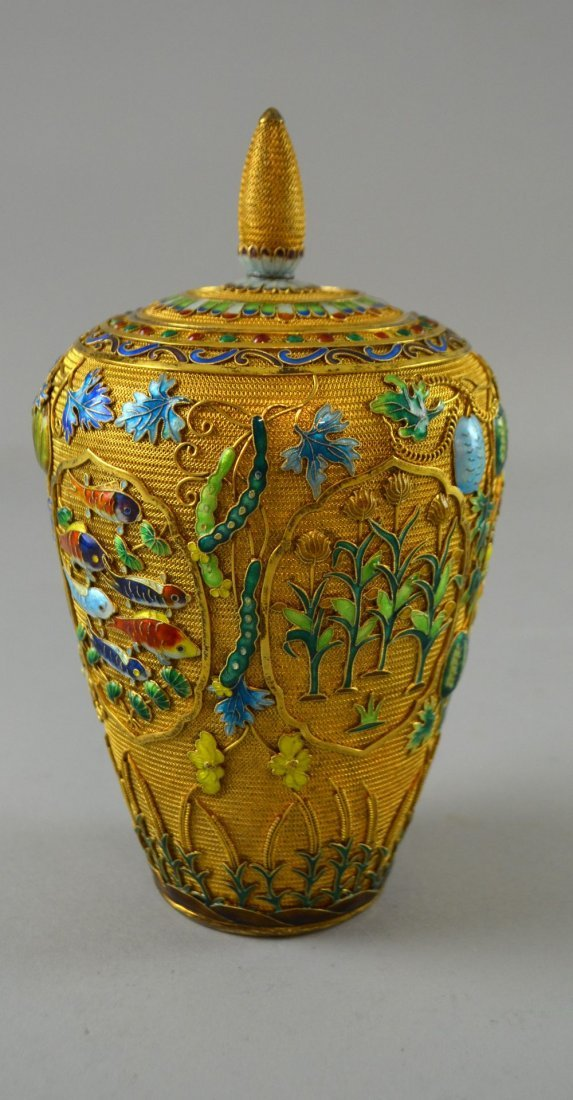 Modern Chinese silver gilt and overlaid enamel vase and - 4