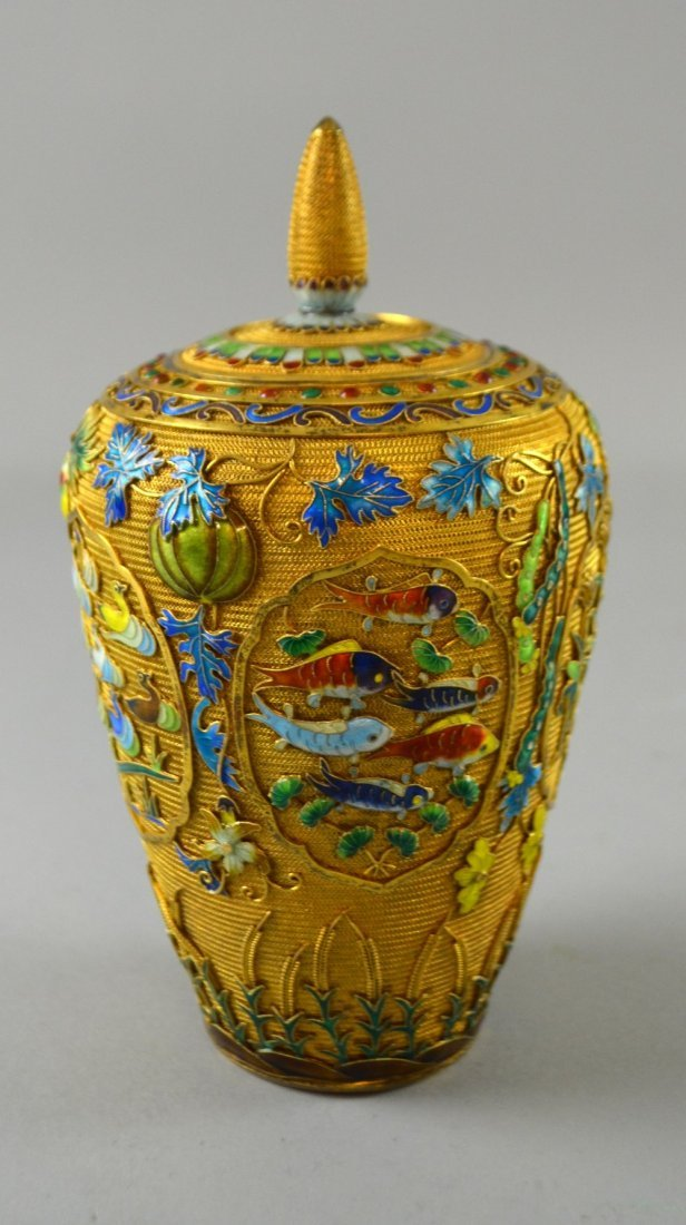 Modern Chinese silver gilt and overlaid enamel vase and - 5