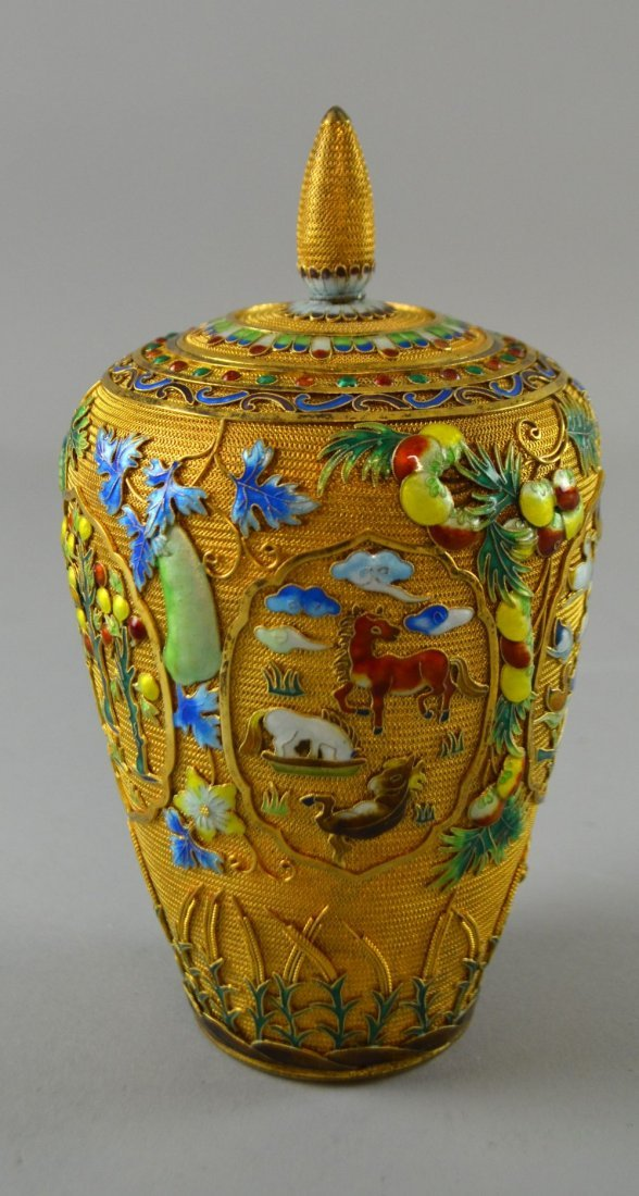 Modern Chinese silver gilt and overlaid enamel vase and - 7