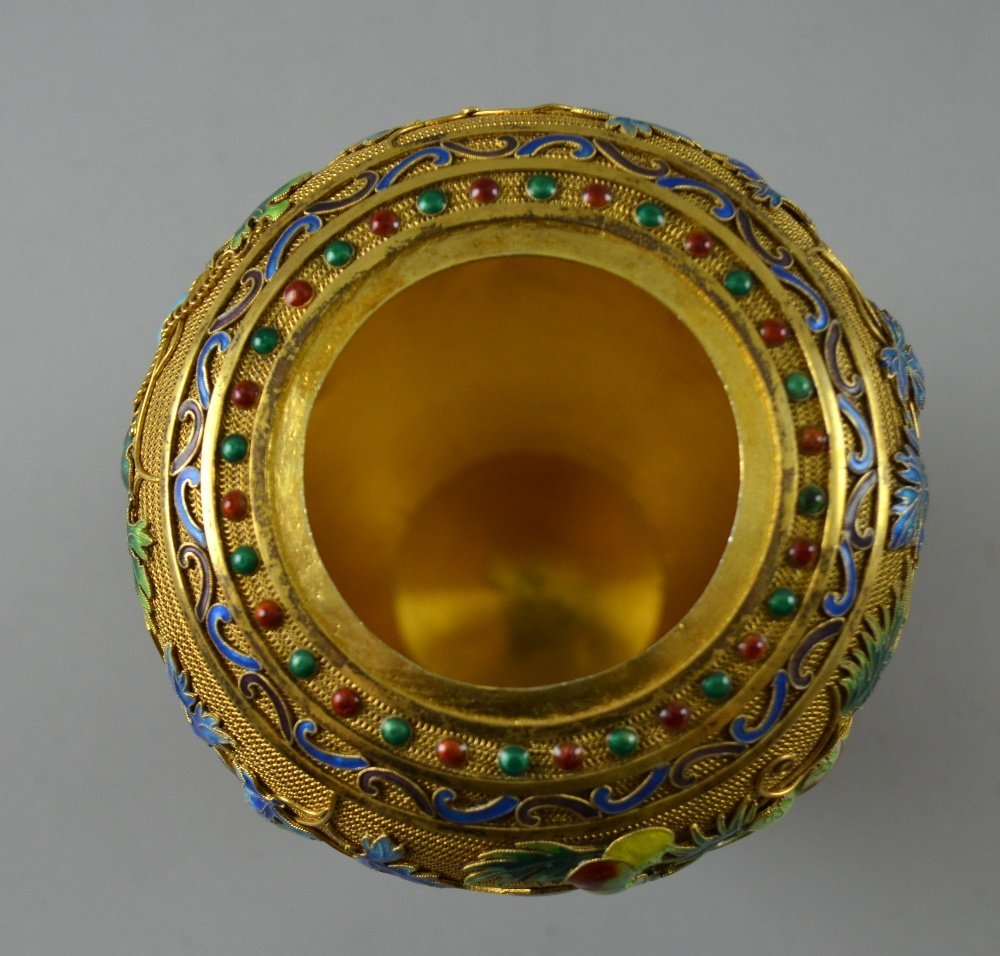 Modern Chinese silver gilt and overlaid enamel vase and - 8