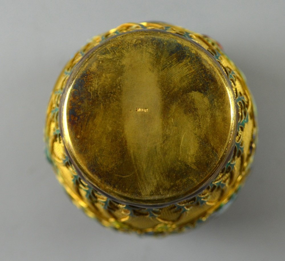 Modern Chinese silver gilt and overlaid enamel vase and - 9