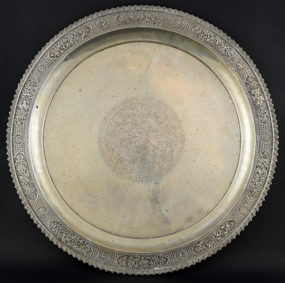 Chinese silver circular tray, the centre engraved with