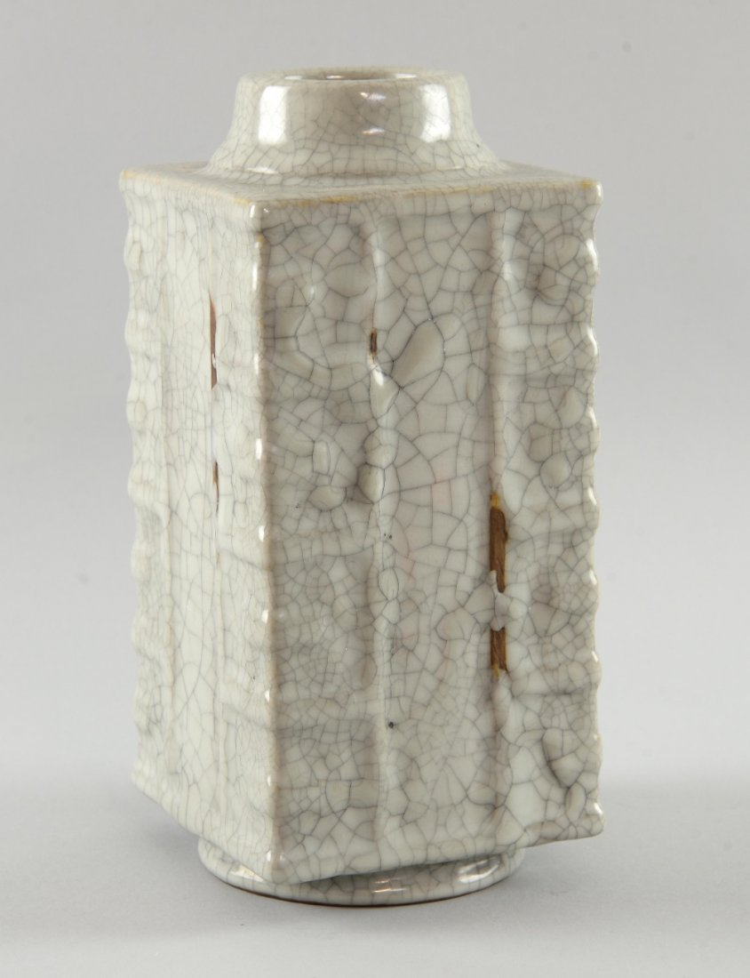 Chinese grey crackle glazed square section vase with