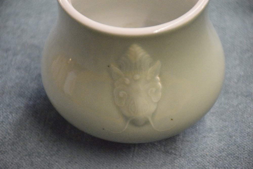 Chinese celadon glazed bulbous vase with moulded insect - 5