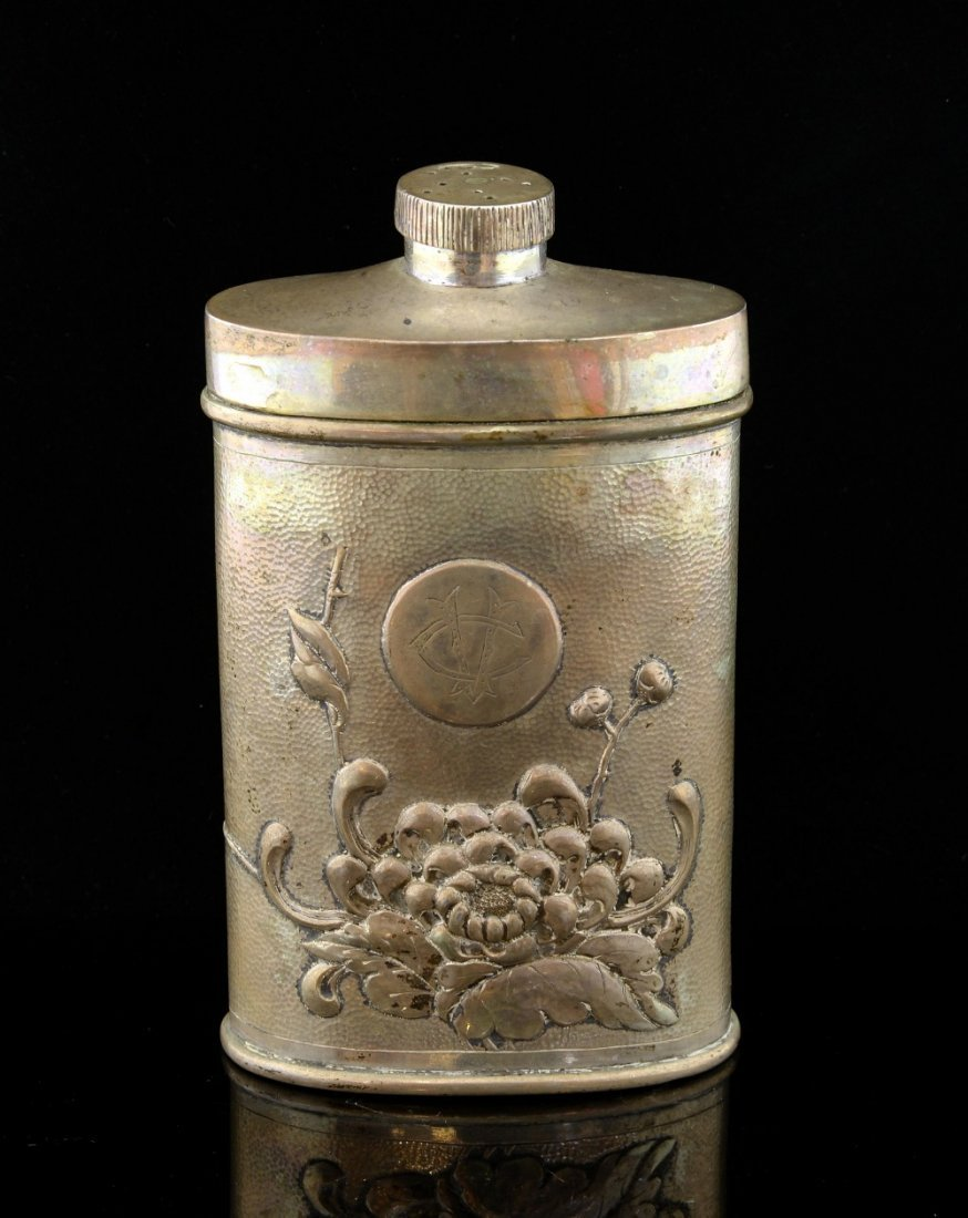 Chinese silver talcum flask decorated with