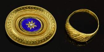 Victorian gold enamel and pearl mourning brooch and a