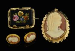 Victorian micro mosaic and  portrait cameo brooches