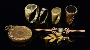 A collection of gold jewellery Including three  gold