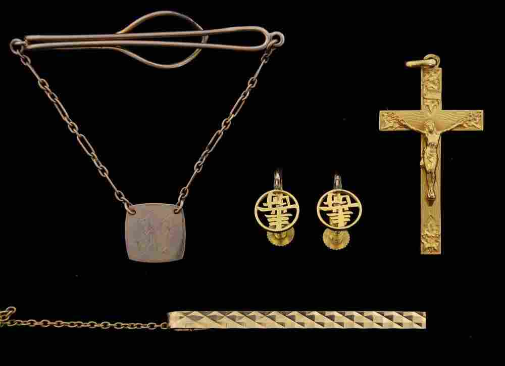 Collection of gold jewellery, including a pair of 14ct