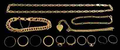 Quantity of gold jewellery, including an 18ct gold