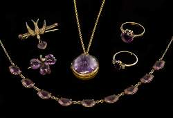 An collection of amethyst jewellery, including a 15ct