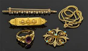 A quantity of jewellery including an Victorian 15ct
