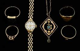 Quantity of gold jewellery including a ladies 9 ct