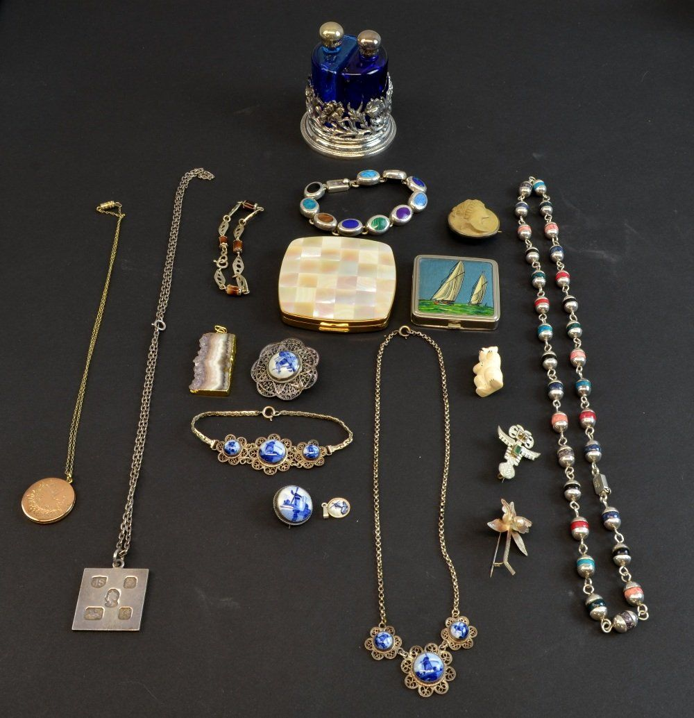 Collection of costume jewellery including a gold plated