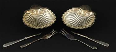 Pair of Victorian silver shell form pickle dishes
