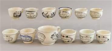 Twelve 19th century miniature chamber pots