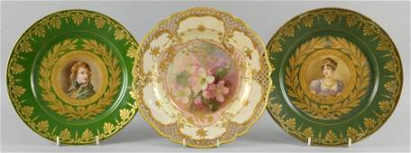 A pair of Sevres-style Napoleonic portrait plates, late