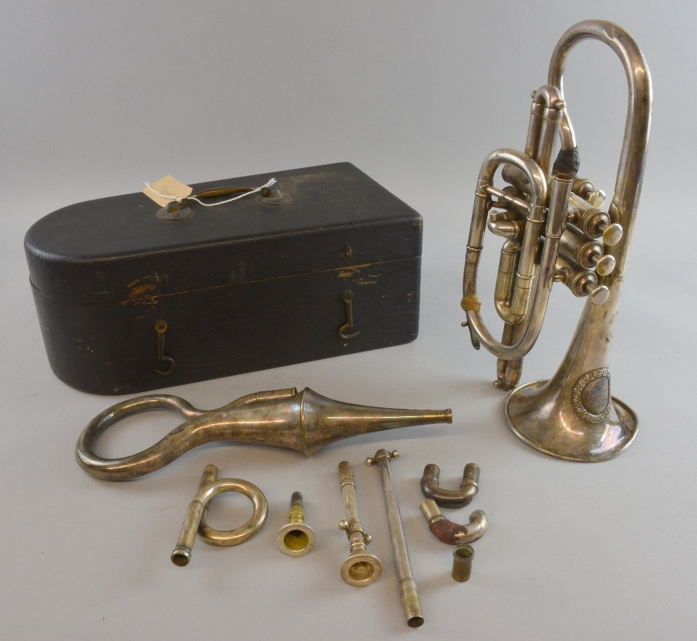 19th Century Besson and Besson silver plated Cornet N