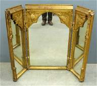 19th Century Gothic Revival carved giltwood triple