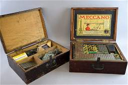 Two mahogany boxes containing Meccano No2 part set and