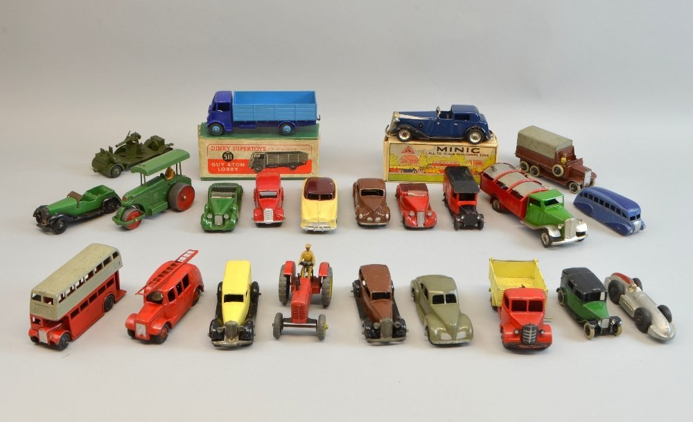Collection of playworn toy cars to include Minic