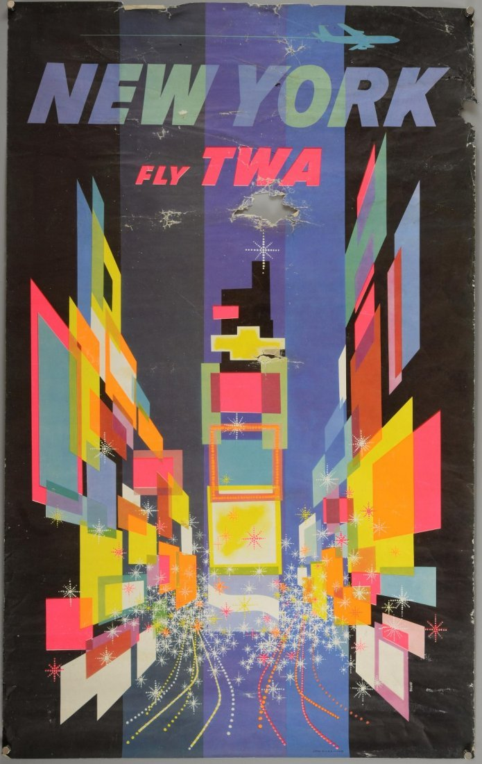 Travel Poster - David Klein (1918-2005) 'New York, Fly