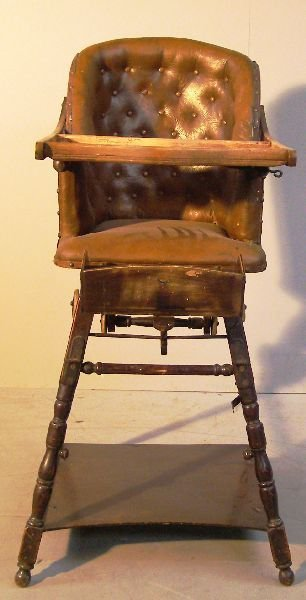 1: 19th century leather and stained wood