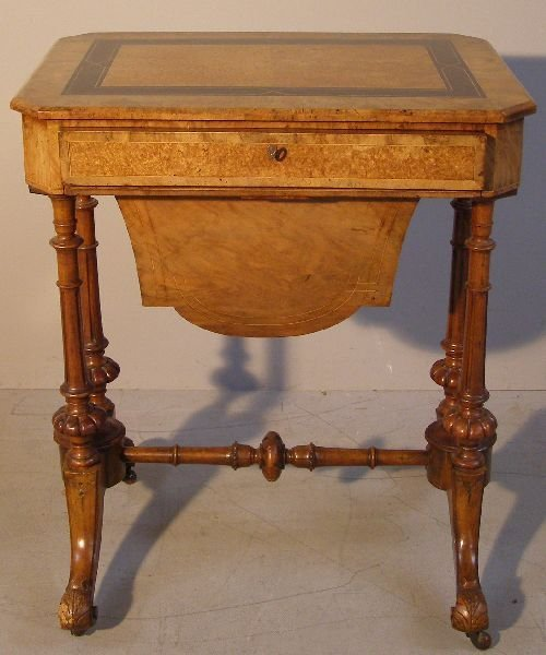 12: Victorian walnut and ebony work table