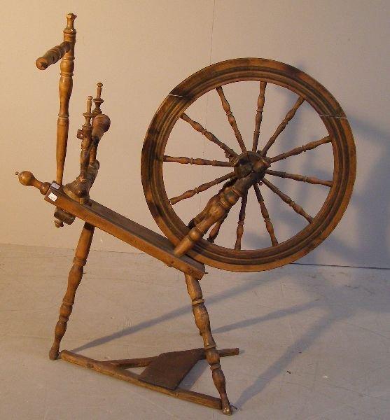 13: Norwegian fruitwood spinning wheel
